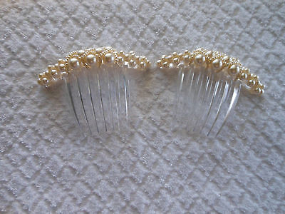 Vintage White Beaded Pearl Hair Combs - Two!