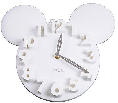 UK - Modern Style Home  Decoration Mickey Mouse Big Digit 3D Wall Clock WHITE