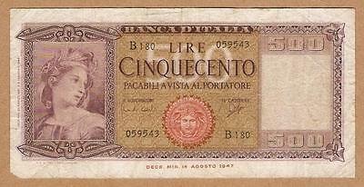 1947 ITALY Note 500 LIRE