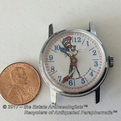 1970's Dr. Suess Cat-In-The-Hat character WIND-UP WRISTWATCH; runs; needs band