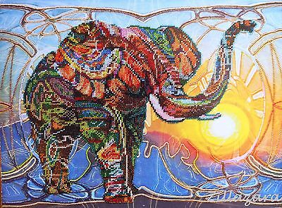 Mosaic Elefant Stickpackung Stickbild Stickset LeinwandPerlen Bead embroidery261