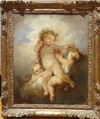18th Century French Classical Old Master Cupids Garlands Antique Oil Painting