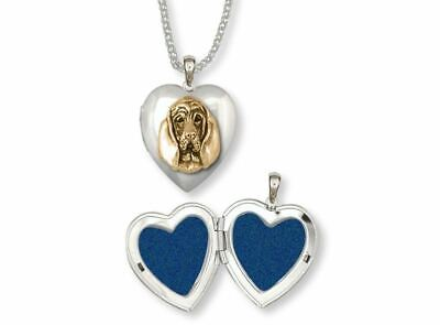 Bloodhound Photo Locket Jewelry Silver And Gold Handmade Dog Photo Locket BHD4-T