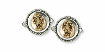 Bloodhound Cufflinks Jewelry Silver And Gold Handmade Dog Cufflinks BHD4-TNCL
