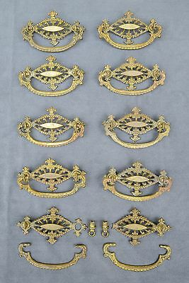 10 Vintage Keeler Brass A74 Ornate Drawer Pulls; one broken