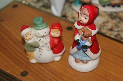 Lot Of 2 Vintage Miniature Figurines For Dept 56 Display Snowman & Children