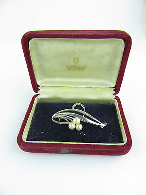 Early 20th C Mikimoto Silver & Pearl Floral Sprig Brooch, Original Box
