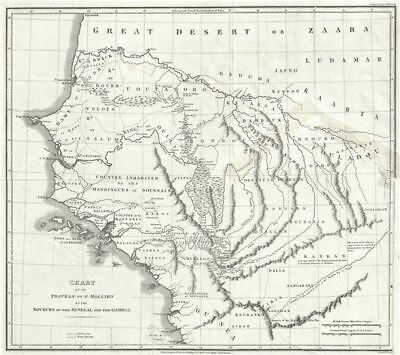 1820 Phillips Map of Senegal and Gambia, Western Africa (Travels of G. Molliens)