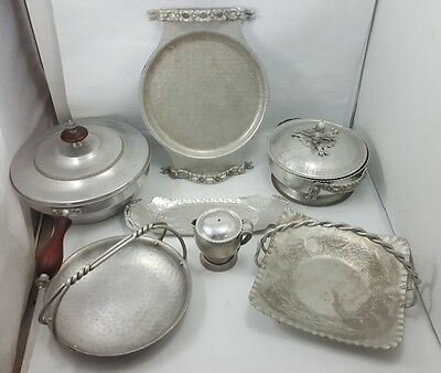 Vintage Lot of HAMMERED ALUMINUM Forged Hand Wrought POTS PLATES TRAYS Kent EMPC