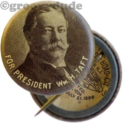 """William H. Taft For President Photo 7/8"""" Political Campaign Pin Pinback Button"""
