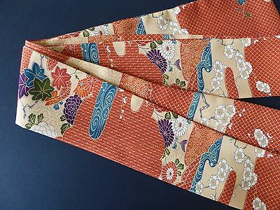 "Japanese Obi Belt Vintage Silk Kimono Fabric 118"" x 3.25""/Made in USA"