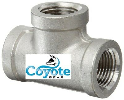 "1/2"" NPT 304 Stainless Steel T Female Pipe Thread Fitting Coyote Gear SS Tee"