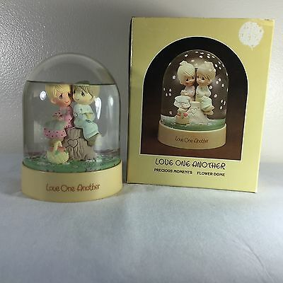 "Precious Moments Figurine ""Love One Another"" Snow Globe - Flower Dome - 1983"