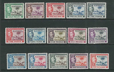 GAMBIA 1938-46 KGVI long set with ELEPHANT TREE (Sc 132-42 short 143) F/VF MH