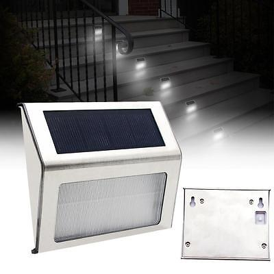 LED Solar Power Stairs Fence Garden Security Lamp Outdoor Waterproof Light^BS