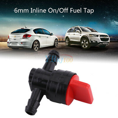 Universal Car Vehicle ATV Plastic 6mm Inline On/Off Fuel Tap Fit 1/4 Pipe Hose