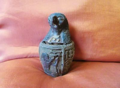 RARE Antique Canopic Jar Organs Storage Ancient Egyptian Falcon Headed Horus