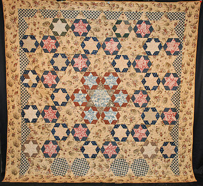 RARE 1830's GLAZED QUILT PIECED STARS IN HEXAGONS COPPERPLATE FABRICS 91 x 88