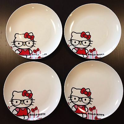 Lot of 4 SANRIO Hello Kitty Plates Salad Lunch Dessert 2011 New NOS Porcelain