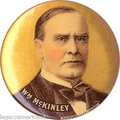 Classic 1900 William McKINLEY Gold-Hued Picture Button (4233)