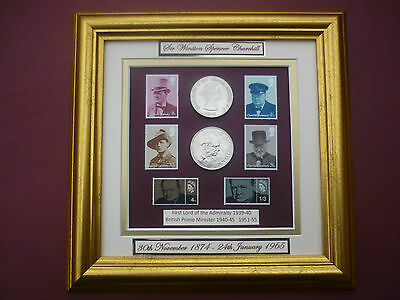 Sir Winston Churchill Framed Coin And Stamp Set