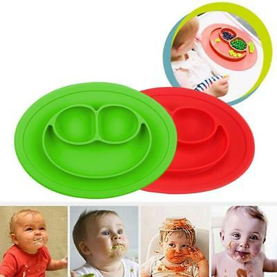 Non-slip Silicone Integrated Round Smiley Place mat Kid Feeding Food Plate SP