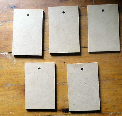 WOODEN SHAPE - 5 OBLONG GIFT TAGS 85mms x 55mms