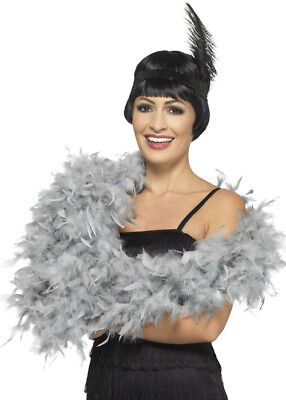 1920s Flapper Girl Silver Grey Feather Boa