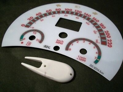 1998-2004 Volkswagen Beetle White Face Glow Through Gauges In KILOMETERS Red