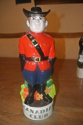 Liquor Decanter Character Hand Painted Decorative Mountie Canadian Club