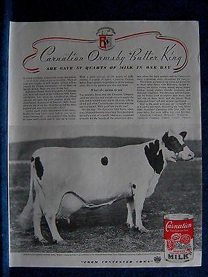 A Favorite -1936 World's Champion Cow Shown ORMSBY BUTTER KING Carnation Milk Ad