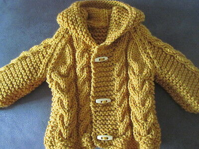 new hand knitted chunky aran  cardigan/jacket   0/3
