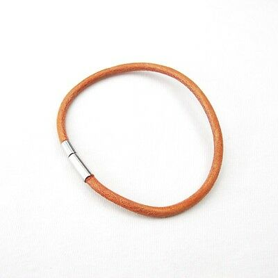 3mm Brown Leather Surfer Wristband Bracelet NON Allergy Pewter Clasp Connector