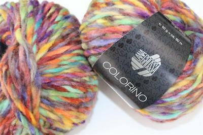 Fb Lana Grossa Lei Color Mix 159 natur//rot//marone 50 g Wolle Kreativ