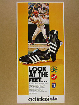 1974 Adidas MAJOR LEAGUE & TRIPLE CROWN Baseball  Shoes Cleats vintage print Ad
