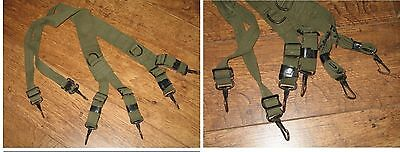 ONE SET- Norwegian MILITARY ( M36 STYLE) WEB GEAR SUSPENDERS - USED MIL. SURPLUS