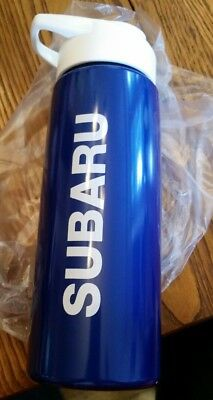 Subaru Automobile Car Logo Blue Plastic Water Drink Bottle With Pop Up Sip Lid