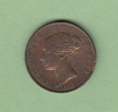 1853 Great Britain 1/2 Penny Copper Coin - Queen Victoria