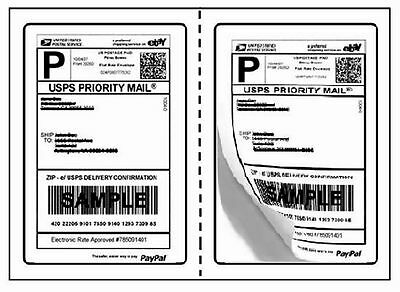 "Perforated Round Corner 1000  half sheet 7.5"" x 5.125"" Shipping Labels LUCKYLEO"