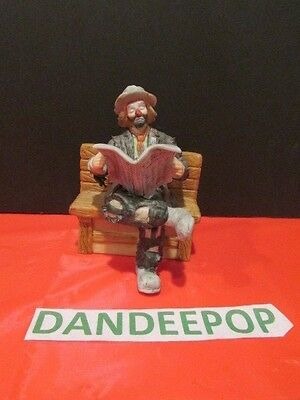 Emmett Kelly Jr Flambro Miniature Figurine Hobo Clown On A Bench With Newspaper