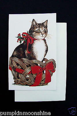 Vintage unused gordon fraser xmas greeting card by adrienne cute vintage unused gordon fraser xmas greeting card by adrienne cute cat in basket m4hsunfo
