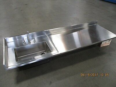 """STAINLESS STEEL SINK 8 feet Long X 34 Inches Wide -  8' X 34"""" Counter Top Sink"""