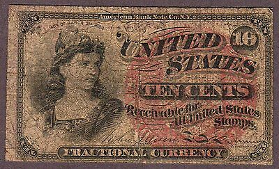Fourth Issue (1869-75) 10¢ Ten Cents Fractional Note, Fr. 1257, Very Good