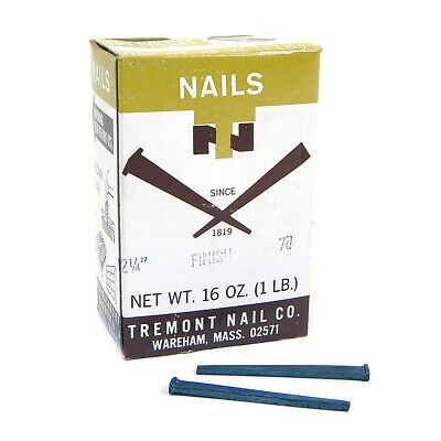 "NEW Tremont 7D Box Of Finish Nails 2 1/4"" Hardened Cut Nails 1 Pound Box"
