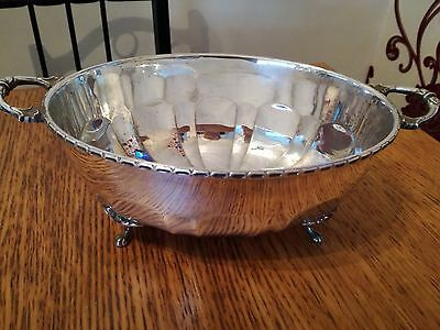 Antique Silver Plate Epns Oval Bowl Handled With Claw Feet Makers Mark R.p.
