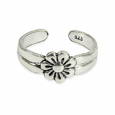 925 Solid Sterling Silver Daisy Flower Adjustable  Toe ring