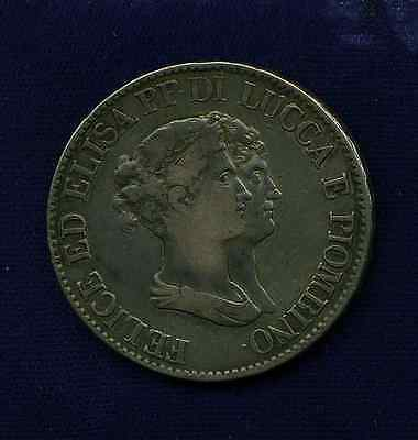 Italy / Italian States  Tuscany - Lucca  1807  5 Franchi Silver Coin, Vf