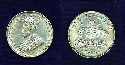 Australia  George V  1935   1 Shilling  Silver Coin,   Almost Uncirculated+