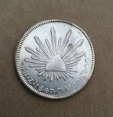 MEXICO  REPUBLIC  ZACATECAS MINT  1847-ZsOM  4 REALES SILVER COIN, XF/AU