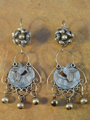 Mexican Mexico Sterling Silver Frida Hummingbird Earrings